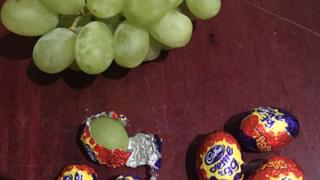 Grapes in chocolate wrappers
