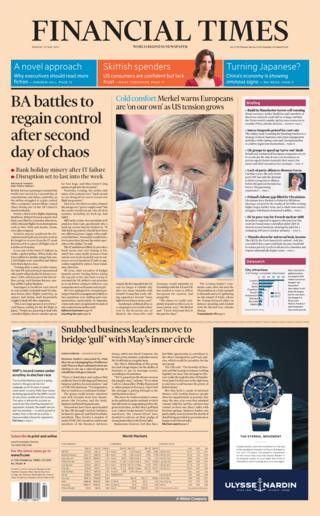 Financial Times front page - 29/05/17