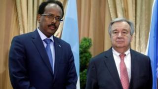 Madaxweyne Farmaajo oo Muqdisho ku soo dhoweeyay Antonio Guterres.