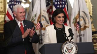 Mike Pence and Seema Verma at her swearing in ceremony