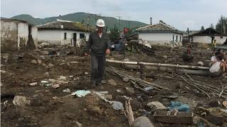 Damaged caused by flooding in North Hamyong province, North Korea (7 Sept 2016)