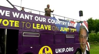 Nigel Farage on Vote Leave bus in South Yorkshire