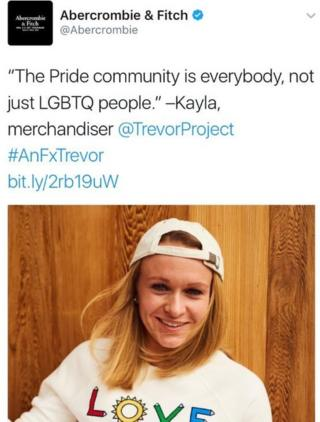 """Abercrombie and Fitch tweeted a picture of an employee in a T-Shirt reading """"Love"""", and the words, """"The Pride community is everybody, not just LGBTQ people. - Kayla, merchandiser."""""""
