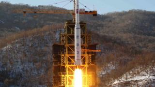 """North Korea""""s Unha 3 rocket lifts off from the Sohae launch pad in Tongchang-ri, North Korea. The Unha 3 rocket that launched the """"Bright Star"""" satellite into space in 2012"""