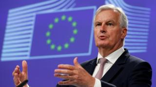 European Union's chief Brexit negotiator Michael Barnier addresses a news conference at the EU Commission headquarters in Brussels, Belgium
