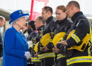 The Queen meets firefighters