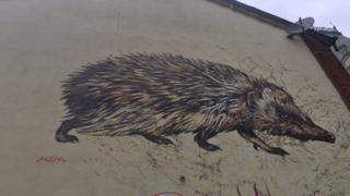 Hedgehog mural in Ipswich
