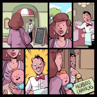 Ilustração mostra mãe sendo barrada com criança em restaurante