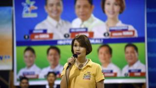 Geraldine Roman delivers a speech as she campaigns in Bataan province