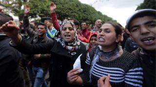 Une manifestation contre le chômage en Tunisie (photo d'archives)