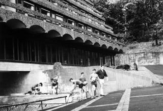 Trainee priests at St Peter's warming up for a game of football, late 1960s