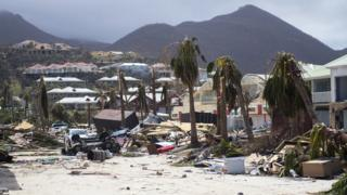 A photo taken on September 7, 2017 shows damage in Orient Bay on the French Caribbean island of Saint-Martin, after the passage of Hurricane Irma.