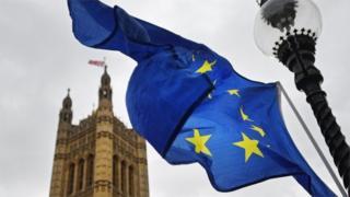 EU flag and Palace of Westminster