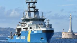 Swedish coastguard ship Poseidon, pictured at the Italian port of Messina in June, 2015