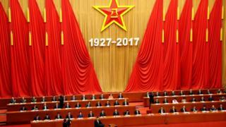 习近平在庆祝中国解放军建军90周年大会上发表演讲。