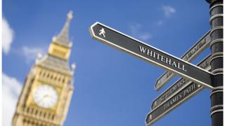 A Whitehall signpost with Big Ben in the background
