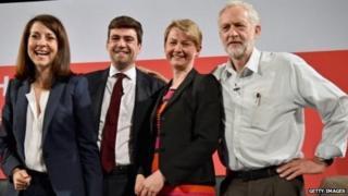 Ymgeiswyr arweinyddiaeth y Blaid Lafur; Liz Kendall, Andy Burnham, Yvette Cooper a Jeremy Corbyn