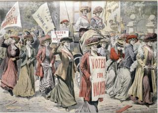 Postcard showing the suffragettes