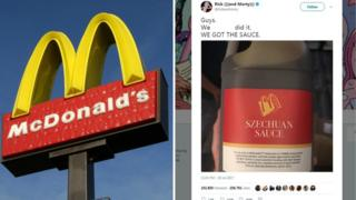 Split collage of McDonalds sign as well as screenshot fromRick as well as Morty creator saying 'we did the idea' as well as photograph of large container of sauce