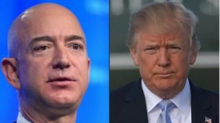 President Trump (right) and Amazon owner Jeff Bezos
