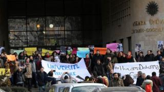 Ankara Üniversitesi önünde protesto