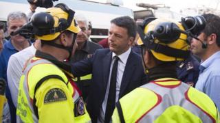 PM Matteo Renzi speaking to emergency workers, July 12 2016