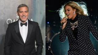 Image shows George Clooney and Beyonce