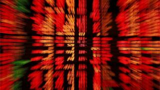 Share price screen in red