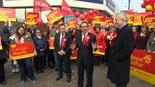 Owen Smith and Carwyn Jones campaign for Labour in the 2015 general election