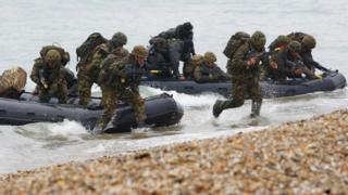 Royal Marines during an exercise near Lee on Solent