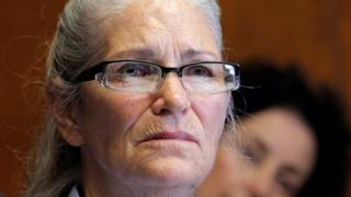 Leslie Van Houten appears during her parole hearing at the California Institution for Women