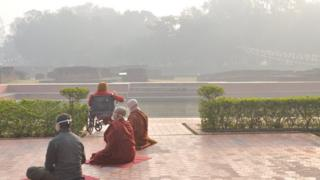 The sacred garden in the core area of Lumbini where monks meditate