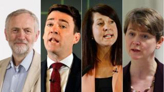 Jeremy Corbyn, Andy Burnham, Liz Kendall ac Yvette Cooper