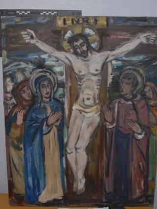 One of the paintings depicting Jesus Christ on a cross