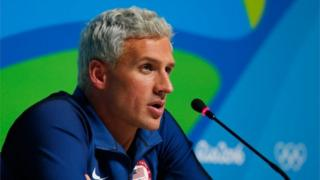 Ryan Lochte of the United States attends a press conference in the Main Press Center on Day 7 of the Rio Olympics on August 12, 2016 in Rio de Janeiro, Brazil.