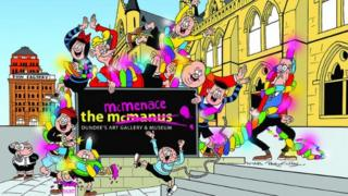 The Bash Street kids and the McMenace sign