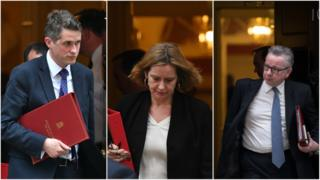 Defence Secretary Gavin Williamson, Home Secretary Amber Rudd and Environment Secretary Michael Gove