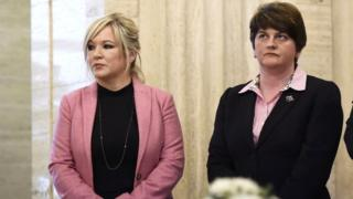 Sinn Fein leader Michelle O'Neill pictured with DUP leader Arlene Foster earlier this year