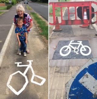 Paula Brown left and repainted bike road marking