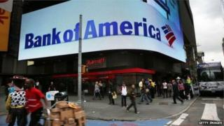 Bank of America promotional sign in busy street