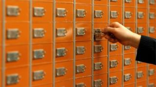 Bank vault safety deposit boxes
