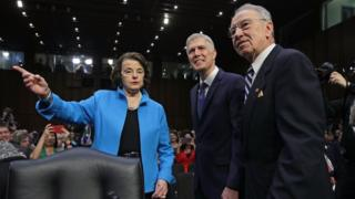 Committee leaders Chuck Grassley (R) and Dianne Feinstein with Neil Gorsuch