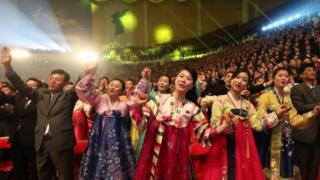 North Korean people watch a performance of the South Korean and North Korean art troupe during a performance of a joint inter-Korean concert at the 12,000-seat Ryugyong Jong Ju Yong Gymnasium in Pyongyang, North Korea, 03 April 2018.