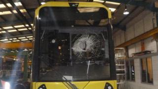 Damaged tram