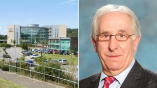 Caerphilly council headquarters and Councillor Keith Reynolds