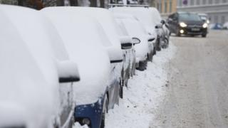 Cars in snow in Norway - file pic