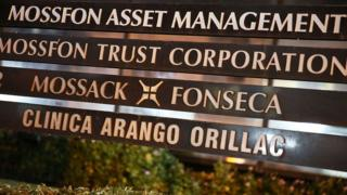 The sign in front of the building that houses the law firm Mossack Fonseca