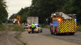 Emergency services at the scene of the A40 crash