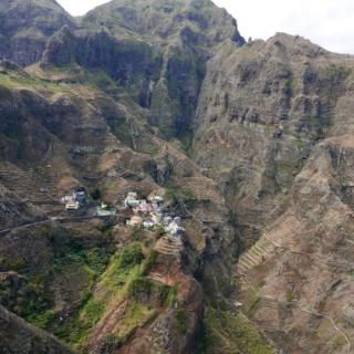 Cape Verde ina ardhi iliyo na milima na mabonde makubwa ambayo ni matokeo ya kulipuka kwa volkano miaka iliyopita