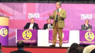 Nigel Farage with James Parkin (far left)